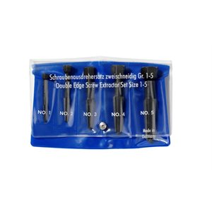 9R 471 900 3 - Jeu de cinq extracteurs de vis à bords doubles (taille 1 – 5 dans une pochette en vinyle) 9R4719003 - KNIPEX