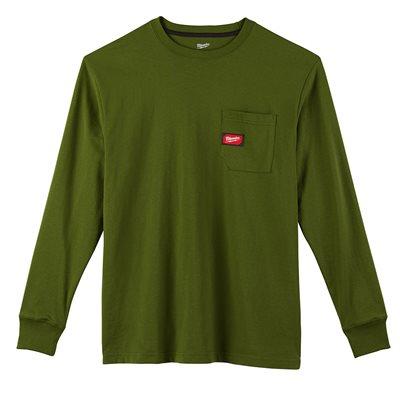 T-shirt à poche - Manches longues Vert 2X