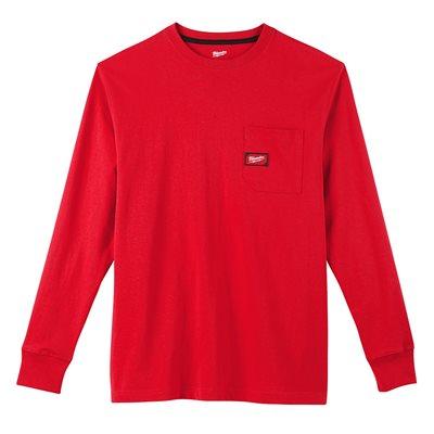 HEAVY DUTY POCKET TEE - LONG SLEEVES RED XL